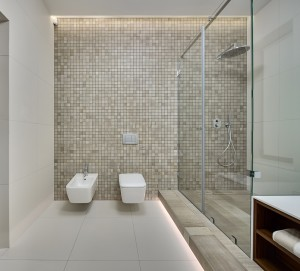 Shower room in a modern style. Back wall decorated with beige mosaic. On the back wall there is a white bidet, white toilet and switches. On the right there is a shower cabin with beige textured tiles on the floor. On the side walls and floor there are light tiles. In front on the right there is a towel in a niche.