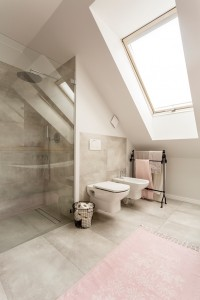 Shot of a spacious bathroom interior with glass shower cabin and a large window